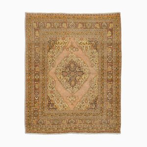 Antique Middle East Light Brown Rug with Border and Medallion
