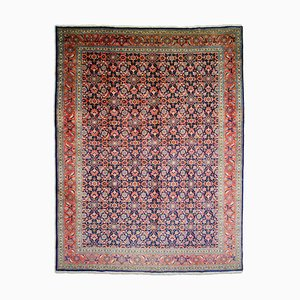 Middle East Floral Dark Blue Rug with Border, 1980s