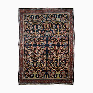 Antique Middle East Dark Blue Rug with Border