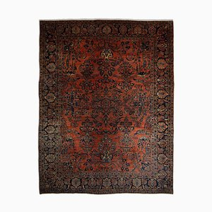 Floral Rusty Red Sarough Rug with Medallion and Border, 1920s
