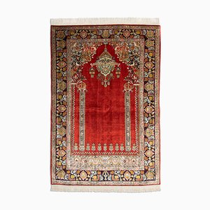 Middle East Floral Rusty Red Silk Rug with Border, 1980s