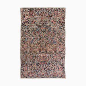 Middle East Floral Dark Blue Rug with Border, 1930s