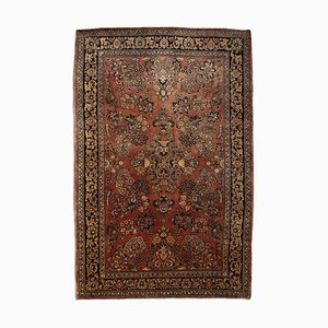 Floral Rusty Red Sarough Rug with Border & Medallion, 1930s