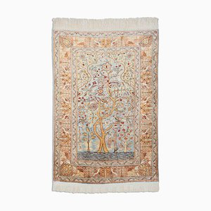 Floral Blue-Grey Gold Thread Silk Hereke Rug with Border & Garden of Paradise Pattern, 1980s