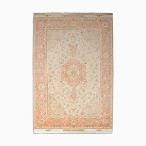 Middle East Floral Beige Rug with Border and Medallion, 2000s