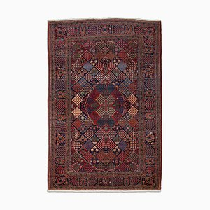 Middle East Floral Dark Blue Rug with Border, Medallion & Field Pattern, 1920s