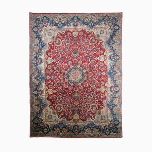 Middle East Floral Wine Red Rug with Border and Medallion, 1940s
