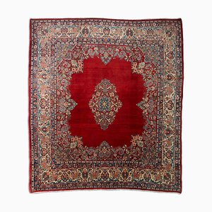 Floral Light Red Sarough Rug with Border and Medallion, 1960s