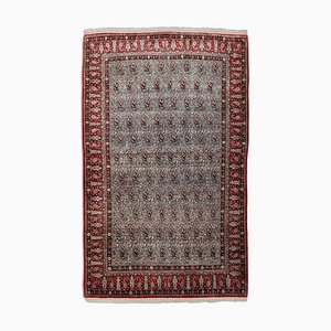 Middle East Geometric Off-White Silk Rug with Border & Paisley, 1980s