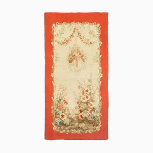 Antique Floral Beige Aubusson Runner Rug with Border, Medallion & Motif