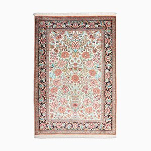Middle East Floral Off-White Silk Rug with Border, 1990s