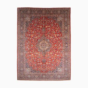 Middle East Floral Rusty Red Rug with Border and Medallion, 1920s