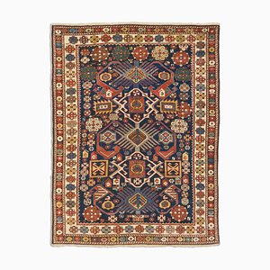 Antique Geometric Beige Perepedil Rug with Border and Diamonds