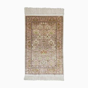 Floral Off-White Silk Hereke Rug with Border, 1980s