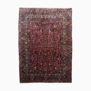 Floral Patterned Rusty Red Sarough Rug with Central Medallion & Border, 1920s