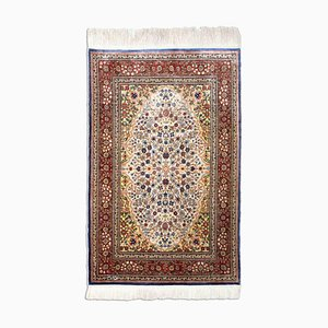 Floral Off-White Patterned Hereke Rug with Central Medallion & Border, 1980s