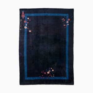 Chinese Floral Dark Blue Rug with Plain Border & Motif, 1960s