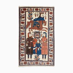 Geometrischer orientalischer Orientteppich mit Motiv, Bordüre & Medaillon, 1940er