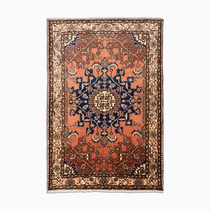 Middle East Geometric Rusty Red Rug with Border and Medallion, 1950s