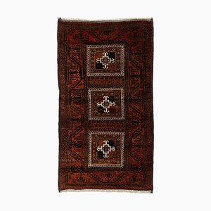 Middle East Geometric Dark Red Patterned Rug with Central Medallion & Border, 1970s