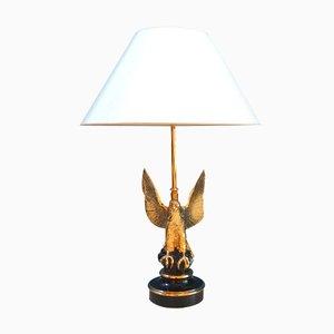 24 Karat Vergoldete Adler Tischlampe von Deknudt