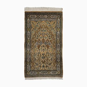 Middle East Floral Light Brown Silk Rug with Border, 1980s