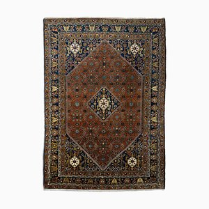 Middle East Geometric Dark Blue Rug with Border and Medallion, 1960s