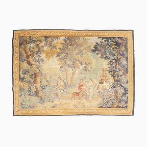 Antique Floral Beige Tapestry with Motif and Border