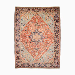 Antique Middle East Floral Rusty Red Rug with Border and Medallion