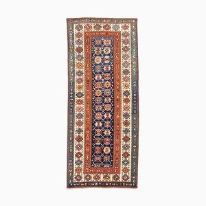 Antiker geometrischer dunkelblauer Talish Teppich mit Border und Diamanten