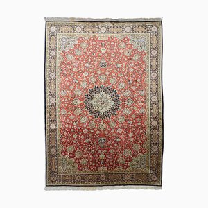 Middle East Floral Light Red Rug with Border & Medallion, 1960s