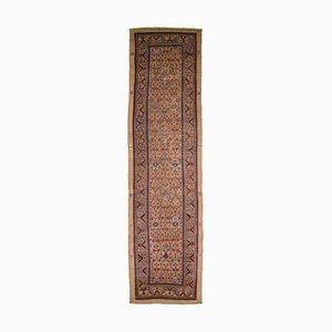 Antiker Orient Hellbraun Gemusterter Läufer Teppich mit Border