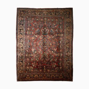 Floral Rusty Red Patterned Sarough Rug with Central Medallion & Border, 1920s