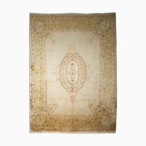 Middle East Floral Beige Rug with Border and Medallion, 1950s