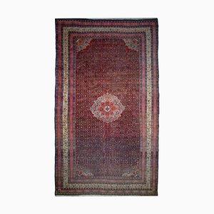 Rostiger Roter Mid-Century Teppich mit Border und Medaillon, 1920er