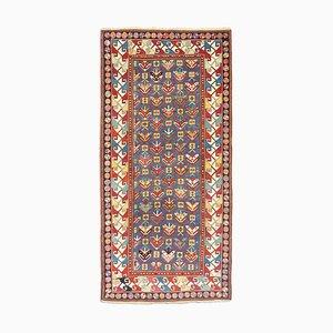 Antique Geometric Blue-Gray Shirvan Carpet with Border