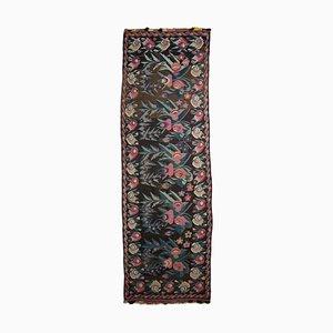 Antique Middle East Floral Dark Brown Kilim Runner Rug with Border
