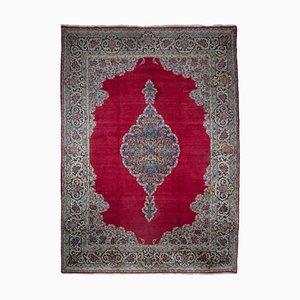 Middle East Floral Light Red Rug with Border and Medallion, 1940s