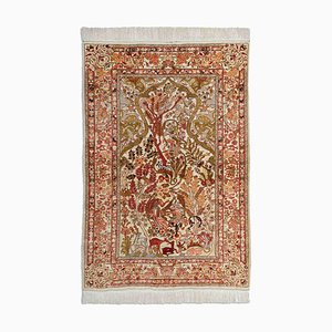 Floral Gold Thread Beige Silk Hereke Rug with Border, 1990s