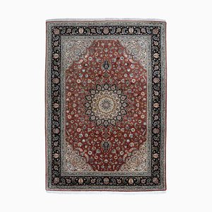 Middle East Floral Dark Red Rug with Border and Medallion, 1990s