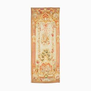 Antiker floraler Aubusson Teppich in Grau und Beige mit Motiv, Bordüre & Medaillon
