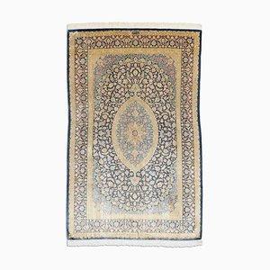 Middle East Floral Golden Beige Rug with Border & Medallion, 2000s