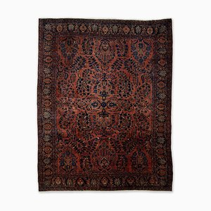 Floral Rusty Red Sarough Rug with Border and Medallion, 1920s