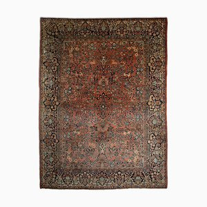 Floral Rusty Red Patterned Sarough Rug with Border and Central Medallion, 1920s