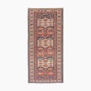 Antiker Geometrischer Rostiger Roter Orient Teppich mit Border und Diamanten
