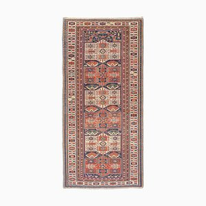 Antique Middle East Geometric Rusty Red Runner Rug with Border and Diamonds
