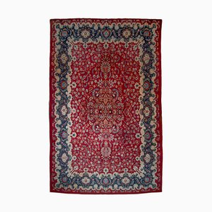 Middle East Floral Dark Red Rug with Border and Medallion, 1960s