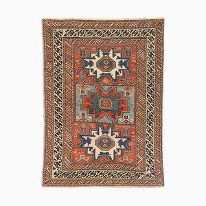 Antiker Geometrischer Rostroter Shirvan Leski Teppich mit Border und Diamanten