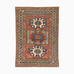 Antique Geometric Rusty Red Shirvan Leski Rug with Border and Diamonds