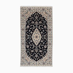 Floral Dark Blue Nain Rug with Border and Medallion